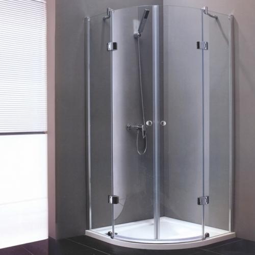 80/80 Душ кабина - полукръг с прозрачно стъкло