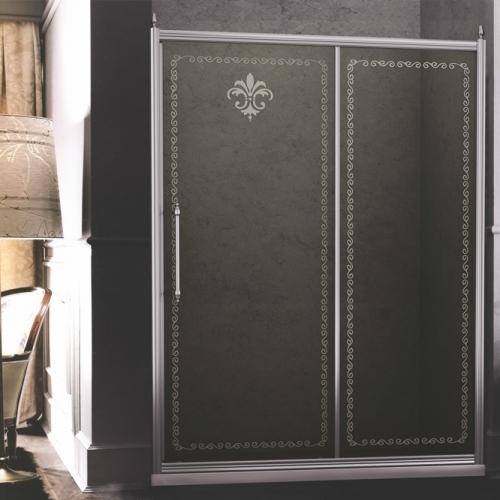 140/195 Параван с плъзгаща дясна врата - хром