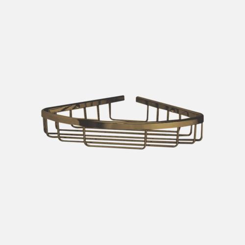 Ъглова етажерка за баня с бронзово покритие