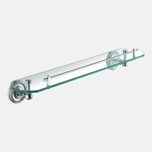 Стъклен рафт за баня с хромирани държачи
