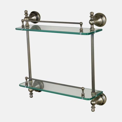 Двоен стъклен рафт с бронзови държачи