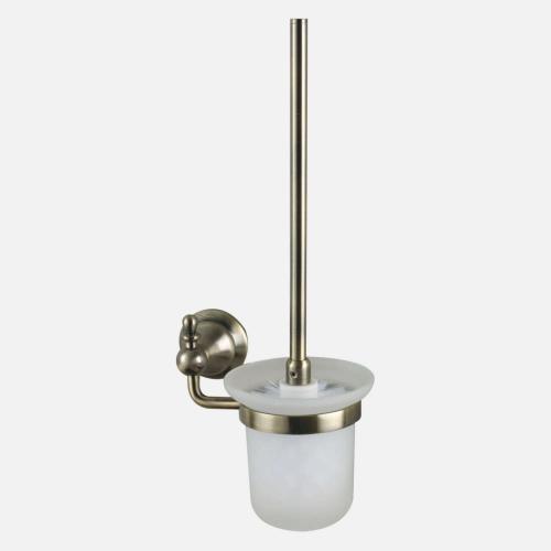 Окачена четка за тоалетна с бронзов държач и стъкло