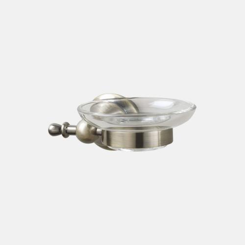 Стъклена поставка за сапун с бронзов държач