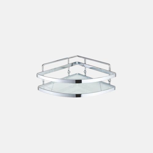 Стъклен ъглов рафт за баня