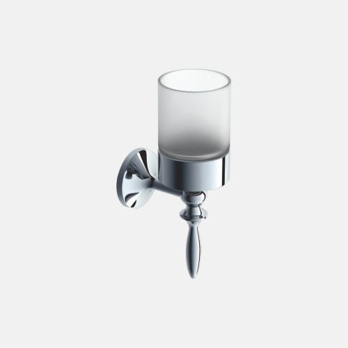 Стъклена чаша с хромирана поставка