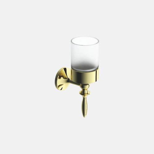 Стъклена чаша с държач в златист цвят