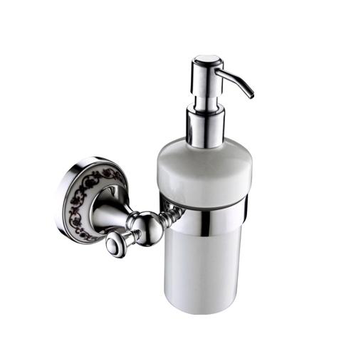 Порцеланов диспенсър за течен сапун с хромиран държач