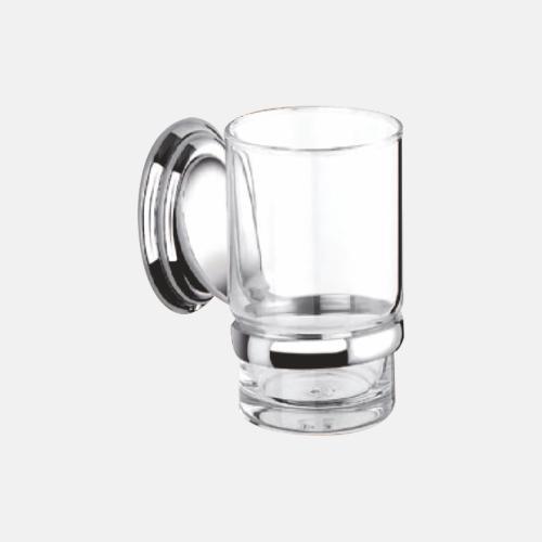 Стъклена чаша за баня с хромирана поставка
