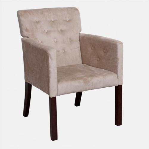 Трапезарен стол с капитониран гръб и плющена дамаска