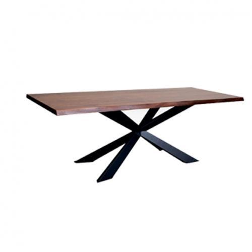 Трапезарна маса с плот 4мм в американски орех и метална база, боядисана в черно