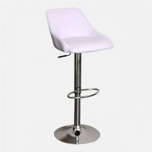 Бял бар стол от кожа