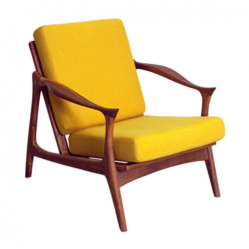 Кресло от дървена конструкция в цвят орех