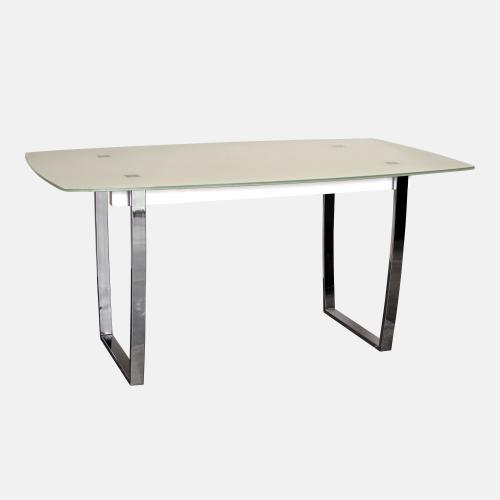 Трапезарна маса с бежов стъклен плот
