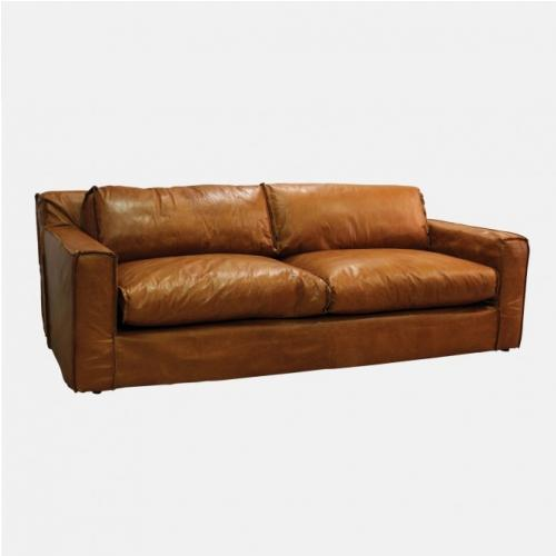 Кожен диван с изчистен дизайн
