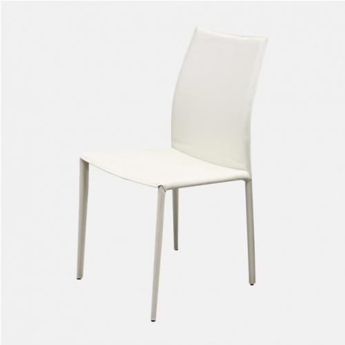 Трапезарен стол с рециклирана кожа в бял цвят