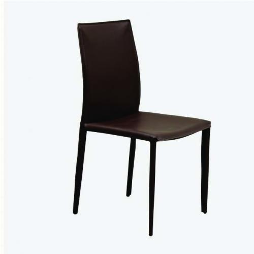 Трапезарен стол с рециклирана кожа в кафяв цвят