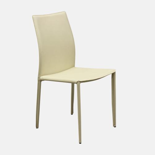 Трапезарен стол с рециклирана кожа в бежов цвят