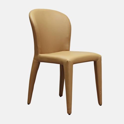 Трапезарен стол с метална основа, облечен в изкуствена кожа в цвят тобако