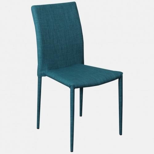 Модерен трапезарен стол, изцяло облечен в синя дамаска