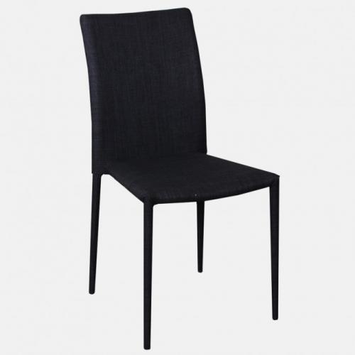 Модерен трапезарен стол, изцяло облечен в тъмносива дамаска