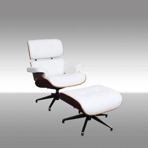 Модерен бял офис стол с табуретка