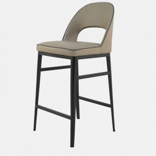 Бар стол с  изкуствена кожа в цвят таупе