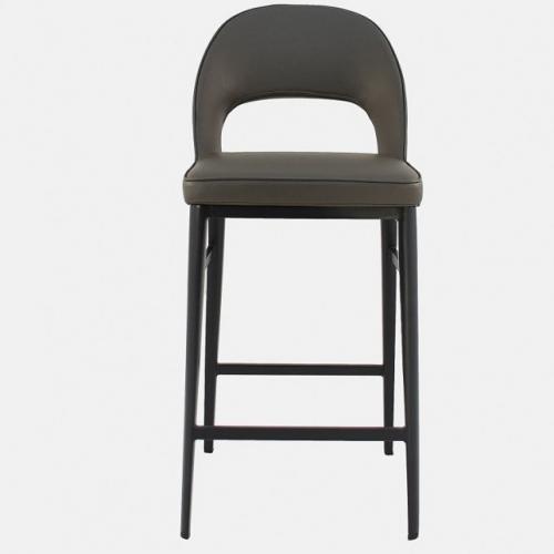Бар стол с изкуствена кожа в цвят тъмно таупе