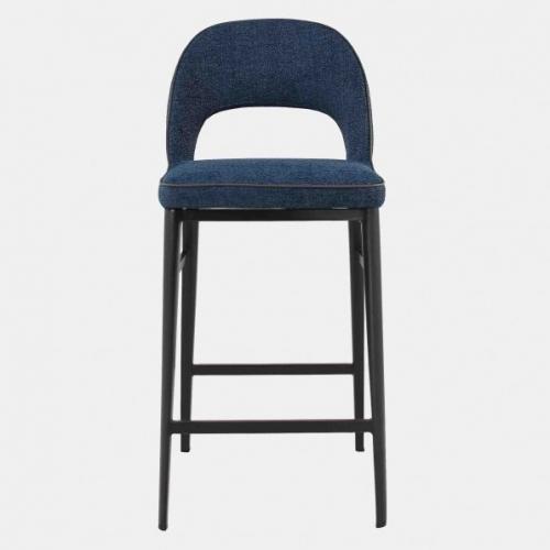 Бар стол със синя дамаска