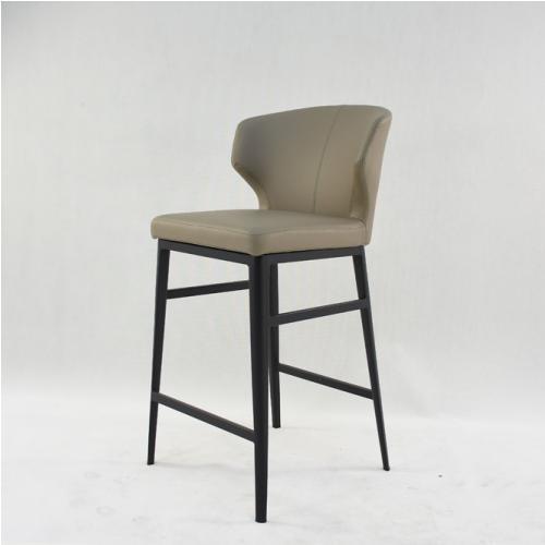 Бар стол с изкуствена кожа цвят таупе
