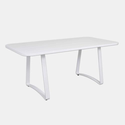Бяла трапезарна маса с метални крака