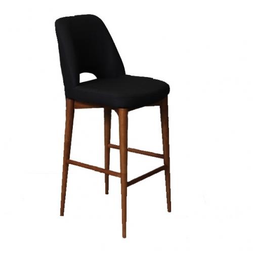 Бар стол с черна дамаска