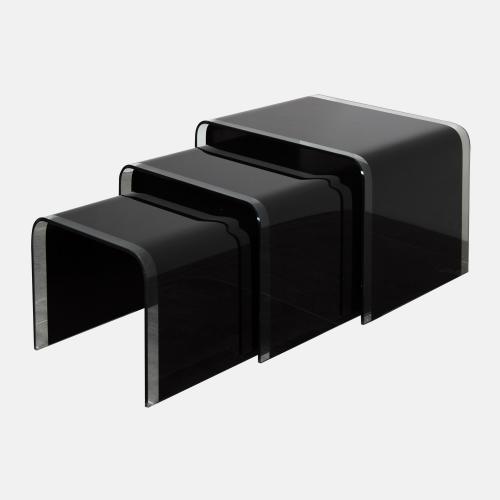 Комплект от три помощни масички от черно стъкло