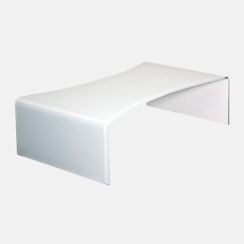 Стъклена холна маса в бял цвят
