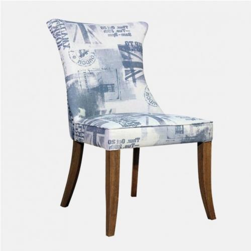 Трапезарен стол с капитониран гръб и плюшена дамаска