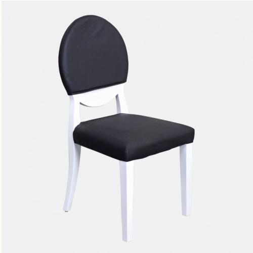 Бял трапезарен стол с черна кожа
