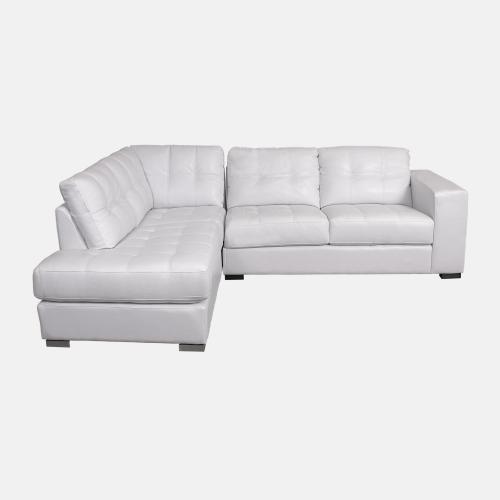 Бял кожен диван с дясна лежанка
