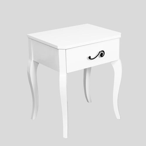 Бяло нощно шкафче лак