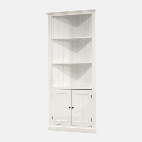 Бял ъглов дървен шкаф