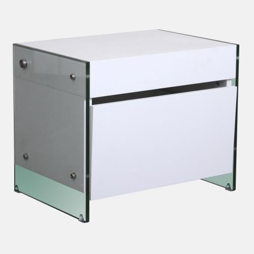 Нощно шкафче от бял дъб и стъкло