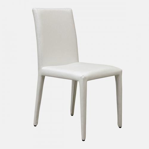 Трапезарен стол в бяла изкуствена кожа