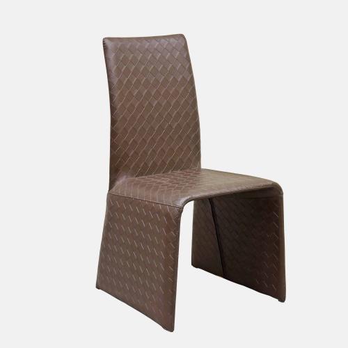 Трапезарен стол в кафява изкуствена кожа