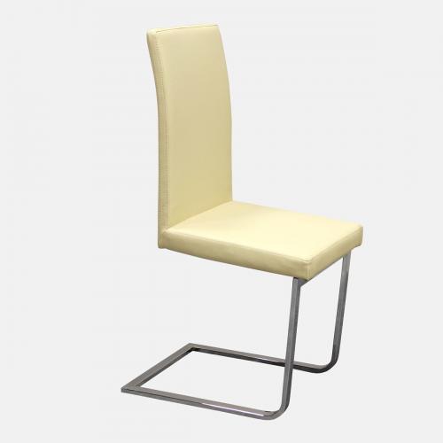 Трапезарен стол от изкуствена бежова кожа