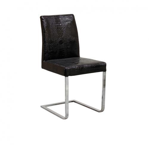Трапезарен стол в черна изкуствена кожа