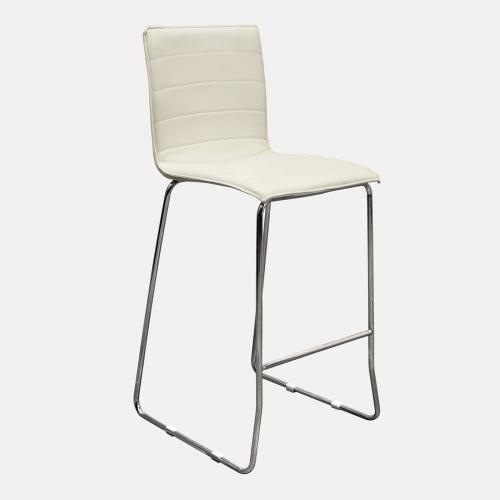 Бар стол от изкуствена бяла кожа