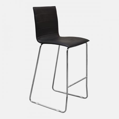 Бар стол от изкуствена черна кожа
