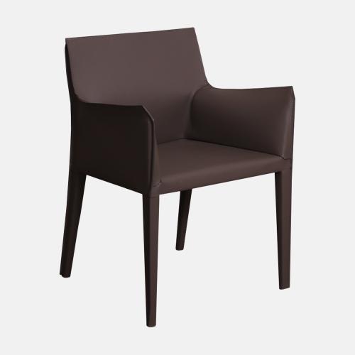 Трапезарен стол с подлакътници в кожа