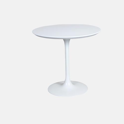 Трапезарна бяла маса с кръгъл плот