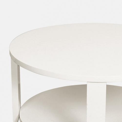 Кръгла холна маса в бял лак