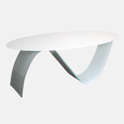 Бяла стъклена холна маса от стъкло