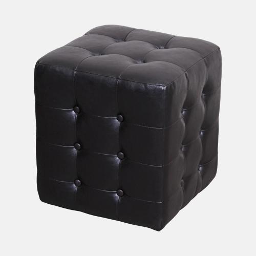 Кожена табуретка в черен цвят и модерен стил